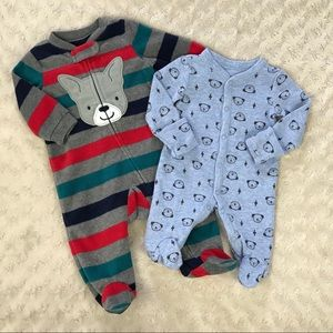 Baby Boy Footed Sleepers Puppy Dog Stripes Blue